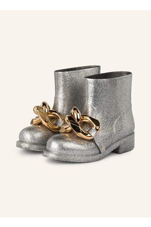 J.W.Anderson Damen Stiefeletten - Gummi-Boots Chain silber