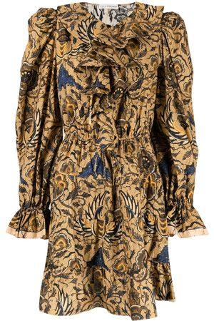 Ulla Johnson Floral-print ruffle-collar flared mini dress