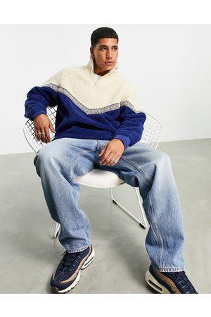 ASOS Oversized teddy borg sweatshirt with chevron detail-Multi