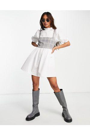 ASOS Poplin check corset smock playsuit in white