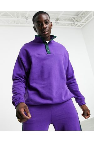 ASOS Co-ord oversized sweatshirt with map pocket & placket in purple