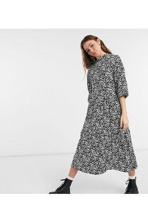 Wednesday's Girl Midi dress with tiered skirt in monochrome animal print-Black