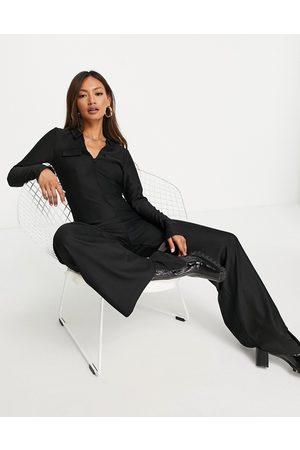 ASOS Long sleeve collar zip front 70s jumpsuit in black