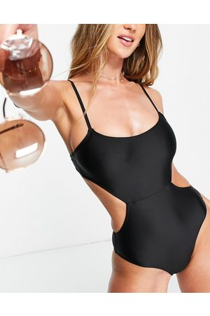 Fashion Union Exclusive cut out swimsuit in black