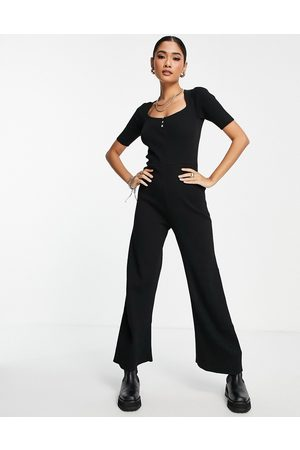 Fashion Union Ribbed wide leg knitted jumpsuit with scoop neck-Black