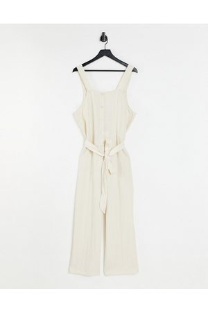 Monki Palma cami jumpsuit with tie waist in -Neutral