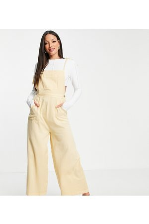 ASOS ASOS DESIGN tall textured tie shoulder jumpsuit in washed stone-White