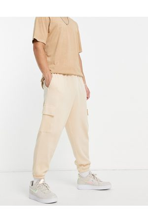 ASOS Co-ord waffle wide leg cargo joggers in -Neutral