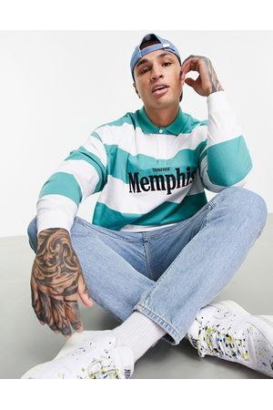 ASOS Herren Lange Ärmel - Oversized long sleeve polo t-shirt in green stripe with Memphis city print-Multi