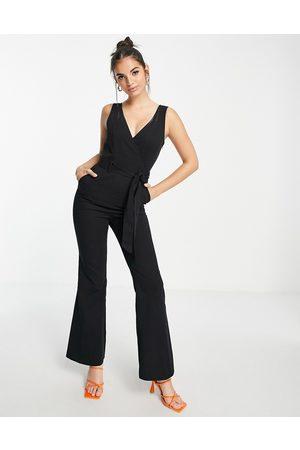 ASOS Twill wrap front split hem flare jumpsuit in black