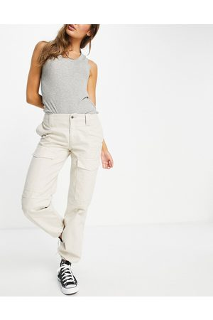 ASOS Low rise utility combat trouser in stone-Neutral