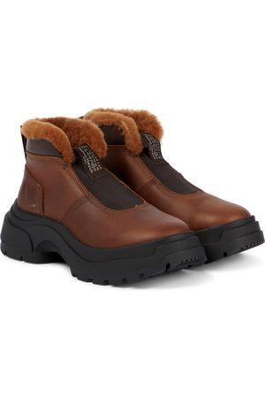Maison Margiela Damen Stiefeletten - Ankle Boots aus Leder und Shearling