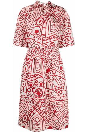 Colville Damen Freizeitkleider - Abstract-print gathered cotton dress