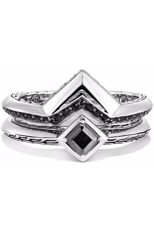 John Hardy Silver Classic Chain Tiga set of 2 stackable rings