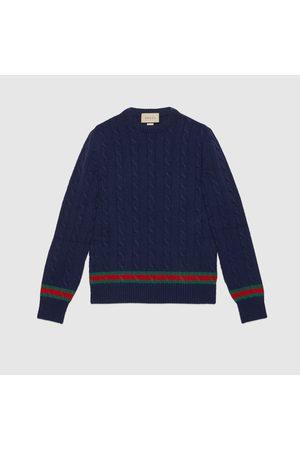 Gucci Herren Strickpullover - Pullover mit Zopfmuster und Web