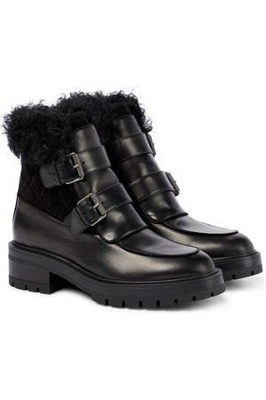 Aquazzura Ankle Boots Ryan aus Leder und Shearling