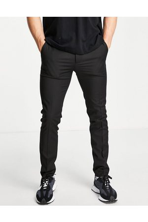 Topman Recycled fabric skinny trousers in black