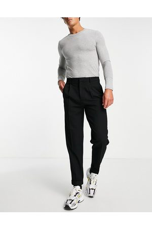 River Island Tapered twill trousers in black