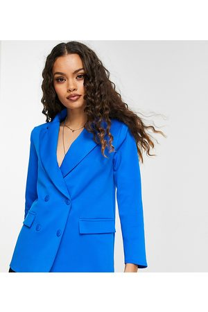 ASOS ASOS DESIGN Petite structured jersey double breasted blazer in electric blue