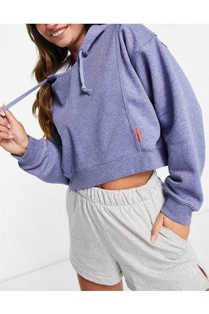 Nike One Dri-Fit fleece hoodie in blue marl