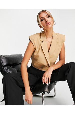 I saw it first Damen Blazer & Sakkos - Sleeveless blazer with shoulder pads co ord in mushroom-Neutral