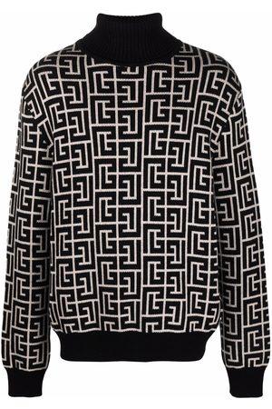 Balmain Herren Strickpullover - Intarsia monogram-knit jumper