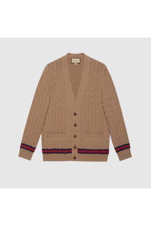 Gucci Herren Sweatshirts - Cardigan mit Zopfmuster und Web