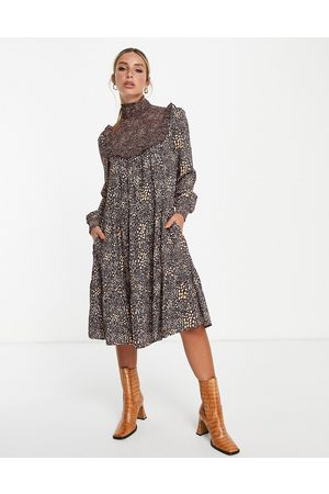 French Connection Printed midi dress in brown