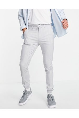 ASOS Soft tailored skinny suit trousers in light blue pin stripe trouser with drawcord waist-Grey