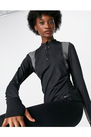 Only Play Sports performance long sleeve zip neck top in black