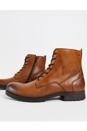 JACK & JONES Leather military lace up boot in brown