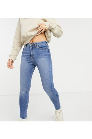 ASOS Damen High Waisted - ASOS DESIGN Petite high rise 'lift and contour' skinny jeans in midwash-Blue