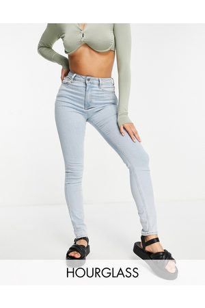 ASOS High rise 'lift and contour' skinny jeans in pretty lightwash-Blue