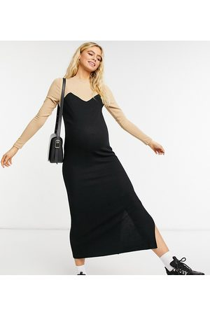 ASOS ASOS DESIGN Maternity super soft midi jumper dress with long sleeves in contrast camel and black-Neutral