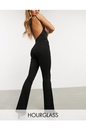 ASOS High rise 'lift and contour' flare jeans in clean black