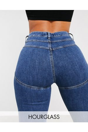 ASOS High rise 'lift and contour' skinny jeans in midwash-Blue