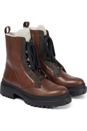 Brunello Cucinelli Ankle Boots aus Leder mit Shearling