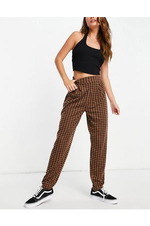 ASOS Jersey tapered suit trousers in chocolate gingham-Multi