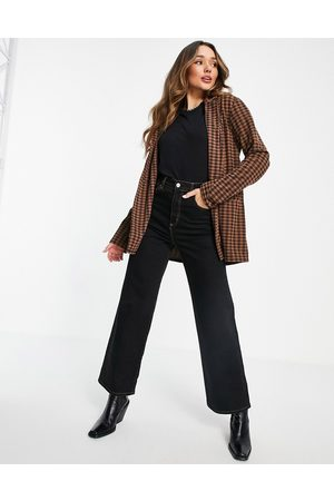 ASOS Jersey slouchy suit blazer in chocolate gingham-Multi
