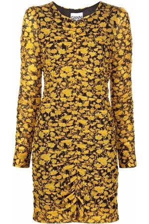 Ganni Floral-print mesh dress
