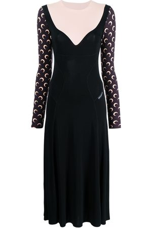 Marine Serre Moon-printed sleeves flared dress