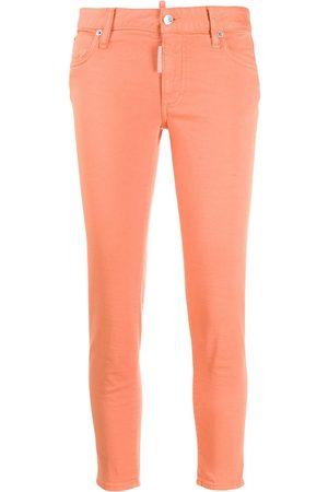 Dsquared2 Damen High Waisted - Mid rise logo apliqué skinny jeans
