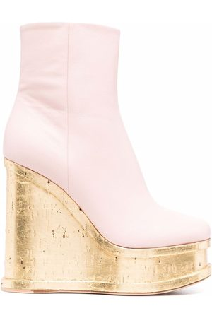 HAUS OF HONEY Wedge leather ankle boots