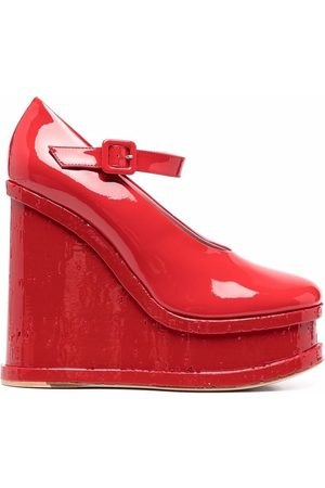HAUS OF HONEY 130mm patent leather wedge pumps