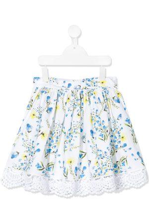 PATACHOU Floral print lace trim skirt