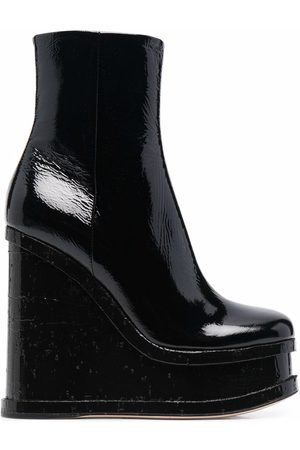 HAUS OF HONEY 130mm patent leather wedge booties