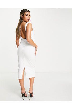 ASOS Button back midi dress in white