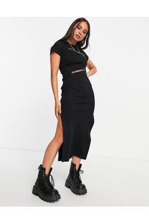 The Ragged Priest Midi dress in rib with zip detail-Black