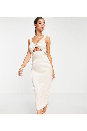 ASOS ASOS DESIGN Tall twist detail textured midi dress in stone-Neutral