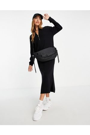 MANGO Midi knitted dress with front zip and side split in black